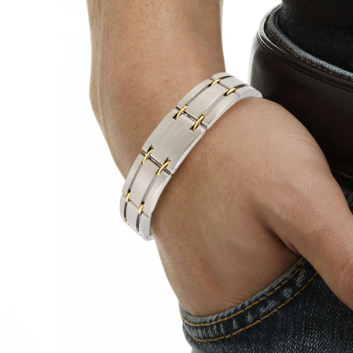 "New trendy Jewelry Healing Magnetic 316L Stainless Steel Bracelet For Men Or Women With FIR 8.5"" OSB-249"