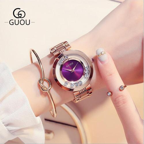 GUOU Watches Women Top Luxury Rhinestone Wristwatches Fashion Rose Gold Ladies Watch Full Steel Clock saat relogio feminino