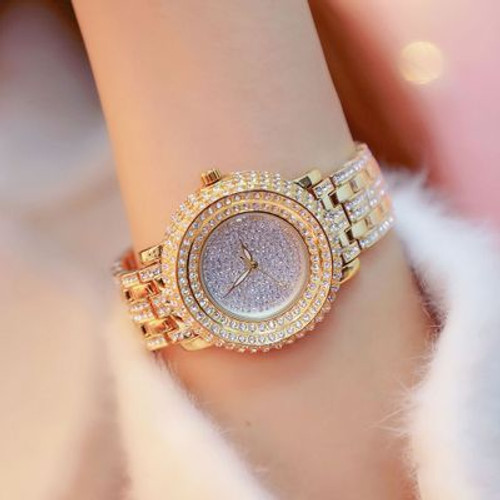 Super Luxury Full Rhinestone Women Watches Fashion Lady Gold Dress Watch New Female Big Dial Crystal Bracelet Watch reloj mujer