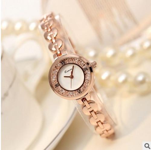 Brand KIMIO Luxury Watches Women Dress Rhinestone Bracelet Wristwatch Roman Numerals Waterproof Full Steel Quartz Watch Clock