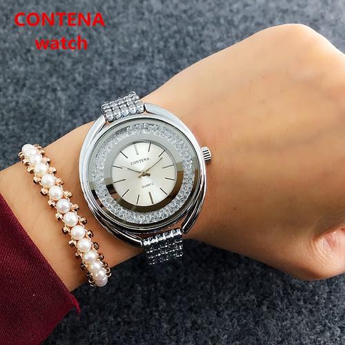 New Top Brand Contena Luxury  Montre Watch Femme Fashion Ladies Women Rhinestones Full Logo Watches Quartz Mujer Crystal Relojes