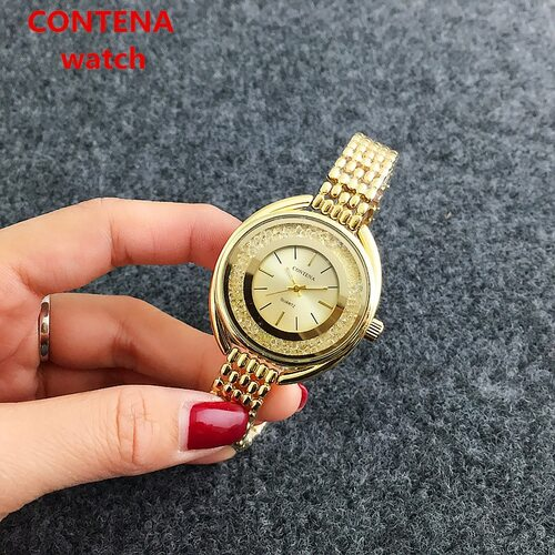 New Top Brand Contena Luxury  Montre Watch Femme Fashion Ladies Women Rhinestones Full Logo Watches Quartz Mujer Crystal Relojes