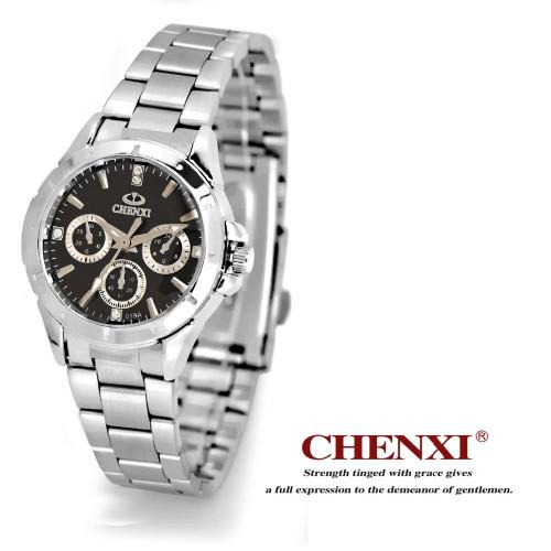 relogio feminino CHENXI Watches Women Top Brand Luxury Fashion&Casual Full Steel Three Eye Women Rhinestone Watch hours