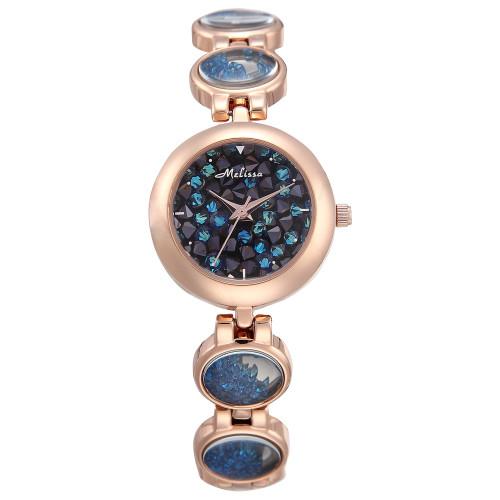 Luxury Melissa Lady Women's Watch Elegant Full Rhinestone Cute Fashion Hours Bracelet Crystal Clock Girl Birthday Gift Box