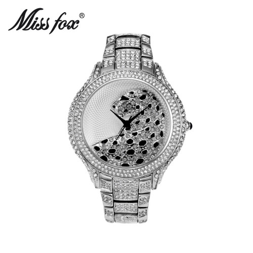Miss Fox Brand  Women Luxury Full Rhinestone Leopard Wristwatches  Dress Watch Women Quartz Watch Bracelet Gift Watches