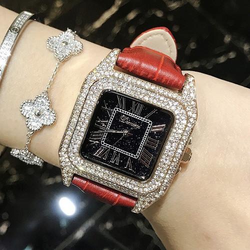 Luxury Full Diamond Women Square Bracelet Watches Ladies Fashion Leather Strap Rhinestone Quartz Watch New Elegant Female Clock