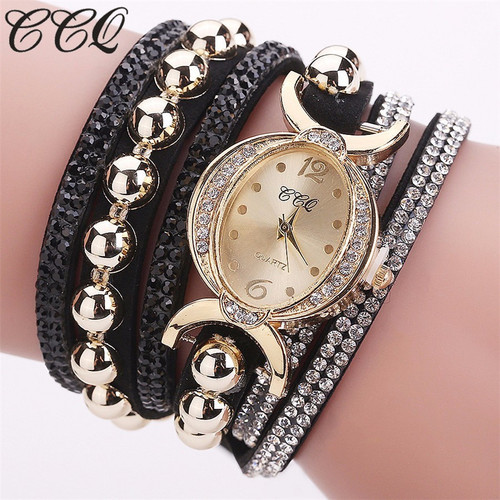 CCQ Brand New Fashion Women Rhinestone Bracelet Watch Luxury Women Full Crystal Wristwatches Quartz Watch Relogio Feminino Gift