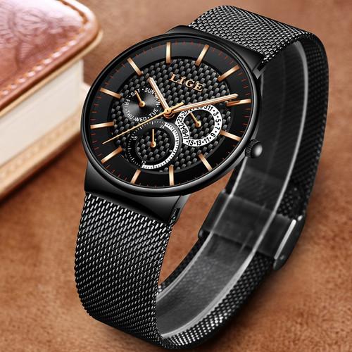 LIGE Fashion Mens Watches Top Brand Luxury Quartz Watch Men Casual Slim Mesh Steel Date Waterproof Sport Watch Relogio Masculino