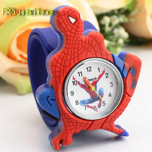 Cartoon Spiderman Watches Fashion Children Boys Kids Students Spider-Man Sports Silicone Watches Analog Wristwatch