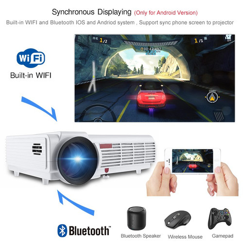 5500 Lumens 3D Home Projector Full HD Support 1920*1080Pixels Video TV WIFI Android6.0 Projector With Free 100inches Screen