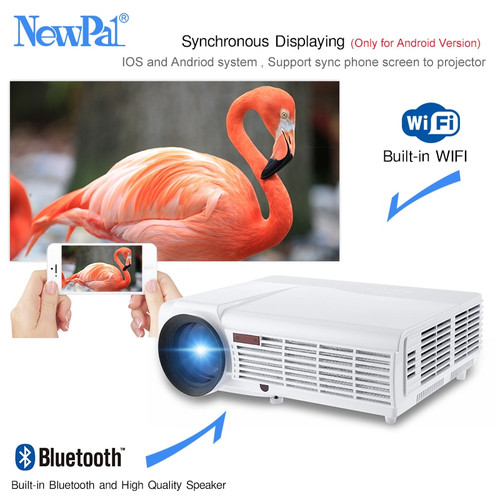 NewPal 5500 Lumens Home Projector LED96 Plus Android 6.0 Support 1920*1080P Bluetooth WIFI 3D Full HD Proyector With Free Gift