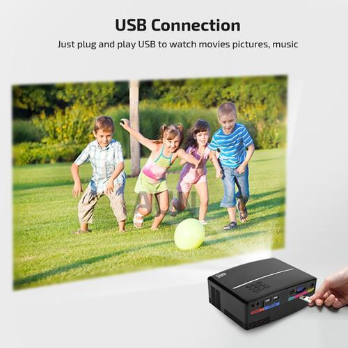 AUN Projector AUN1 1800 Lumens LED Projector Set in HDMI,VGA,USB Port. 28 Pcs LED Beads HD Projector