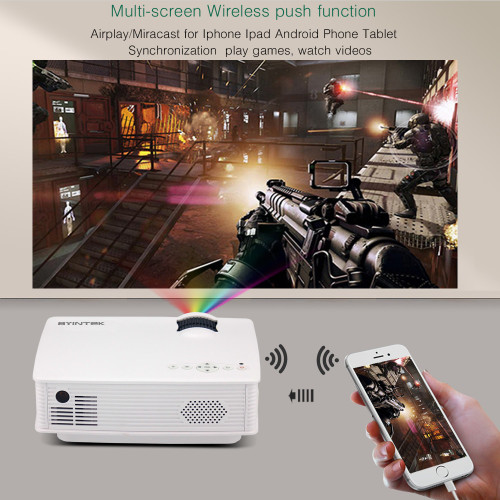 BYINTEK SKY BT140plus HD wireless push multi-screen airplay mircast connect smart phones mini LED LCD Home Theater Projector