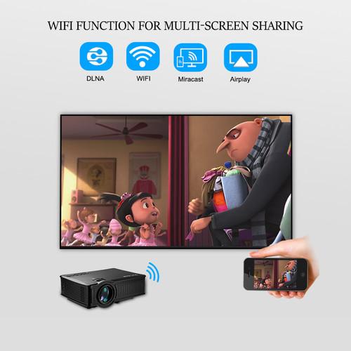 OWLENZ Wireless wifi Proyector Multi-Screen/Airplay/Miracast 1500Lumen HD Digital Multimedia LED Mini Projector Beamer SD60