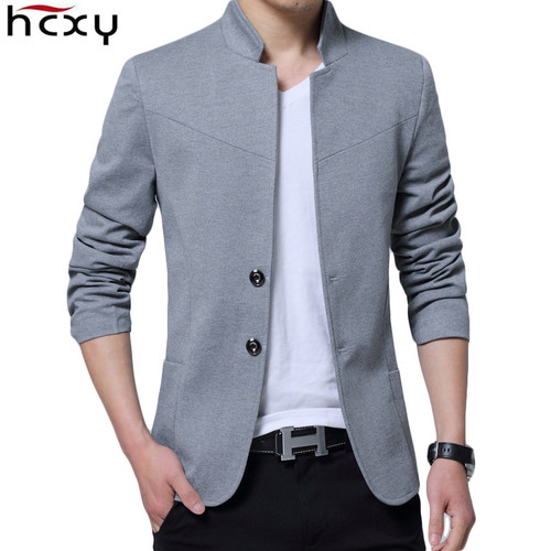 HCXY Blazer Men 2017 High Quality  Suit Jacket Men New Style Stand Collar Male Blazer Slim Fit Mens Blazer  Plus Size M-5XL