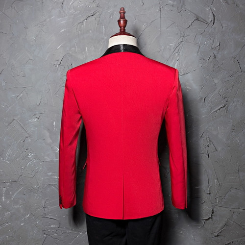 PYJTRL Men's Red Shawl Collar Single Button Suits Jacket Wedding Party Business Casual Blazer Coat Masculino Slim Fit Men