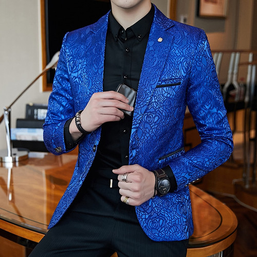 Royal Blue Black Promo Blazer For Men Rose Jaquard Print Slim Fit Blazer Stylish Blazer Business Casual Party Wedding Suit Coat