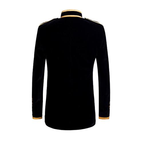 PYJTRL British Style Palace Prince Fashion Black Velvet Gold Embroidery Blazer Wedding Groom Slim Fit Suit Jacket Singers Coat