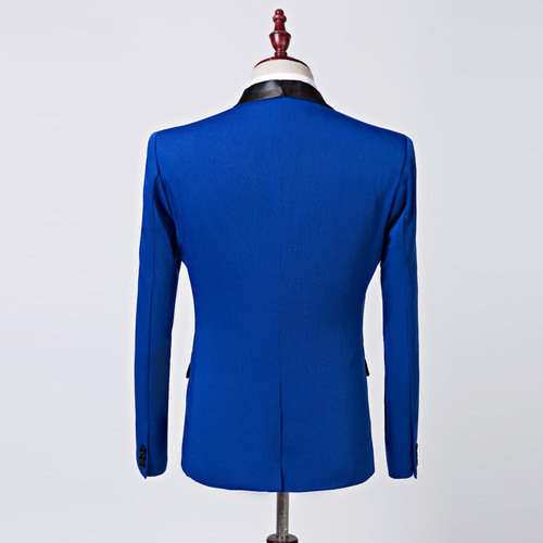 PYJTRL Mens Fashion Royal Blue Shawl Collar Suit Coat Casual Wedding Business Male Blazer Jacket Masculino Slim Fit Hombre