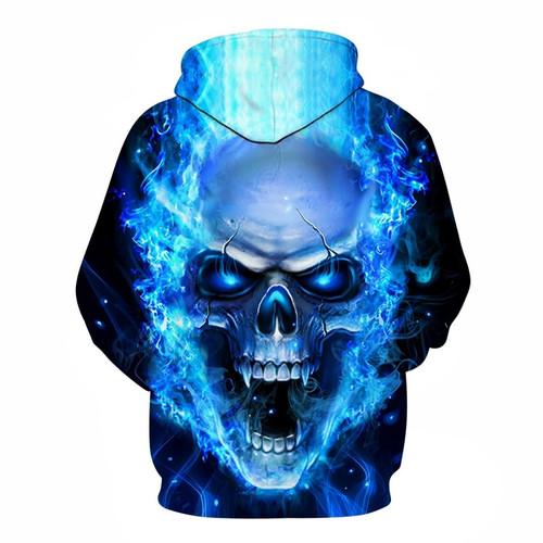 New Blue Flame Skull Hoodies 3D Sweatshirts Men Women Hooded Loose Tracksuits Autumn Winter Coat Streetwear Funny Jackets Hoodie