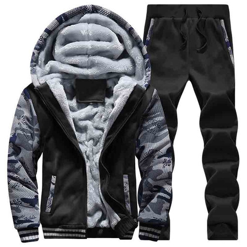 2018 Winter Thick Sweatshirt For Men 2PC Jackets+Pants Zippper Hoodie Men Coat Fashion Casual Streetwear Hip Hop Hoody Jacket