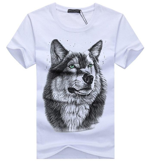 SWENEARO Men's clothing T-Shirt White T shirt Casual Cotton Wolf Printed Cartoon Short Sleeve Tee Shirt Men Brand Tee shirt 5XL