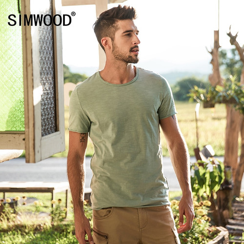 SIMWOOD Brand 2018 Hot Sale New Men Clothing T shirt Summer Short Sleeve O-neck Casual Slim Tops Tees Free Shipping 180050