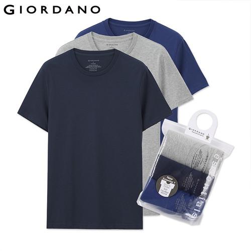 Giordano Men T Shirt Men Short Sleeves 3-pack Tshirt Men Solid Cotton Mens Tee Summer T Shirt Men Clothing Sous Vetement Homme