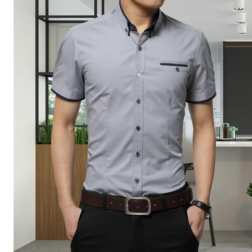 2017 New Arrival Brand Men's Summer Business Shirt Short Sleeves Turn-down Collar Tuxedo Shirt Shirt Men Shirts Big Size 5XL