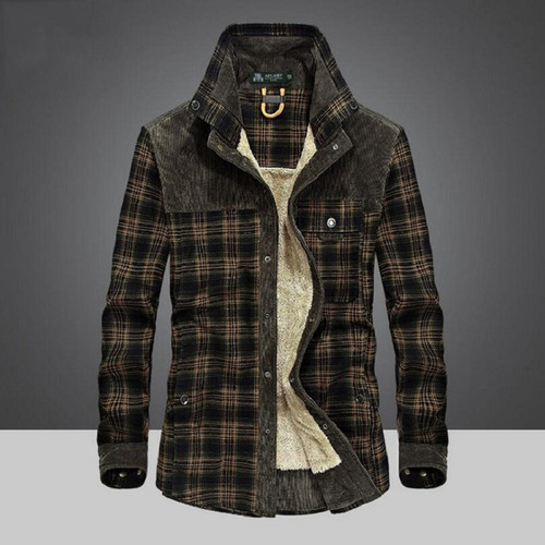 Afs Jeep Military Shirt Men Casual Shirts 100% Cotton Winter Wool Thick Warm Shirts Plaid Fleece Camisa masculina Chemise homme