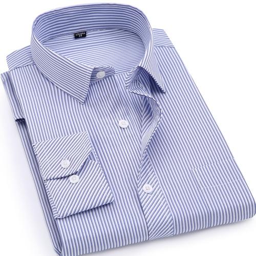 Plus Large Size 8XL 7XL 6XL 5XL 4XL Mens Business Casual Long Sleeved Shirt Classic Striped Male Social Dress Shirts