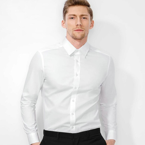 Free Shipping High Quality Men's Slim Shirt 100% Cotton Shirt Men's Business Casual Pure Shirt Free Shipping 4 Color Size - S-XX