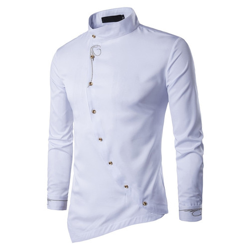 Male Shirt Long Sleeve Mens Clothes Oblique Button Dress Shirts Mandarin Collar Men Tuxedo Shirts
