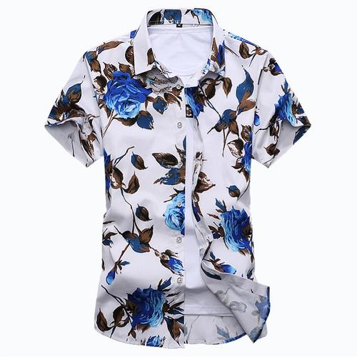 2018 summer new men's Hawaiian shirt casual XL short-sleeved shirt 5XL 6XL 7XL