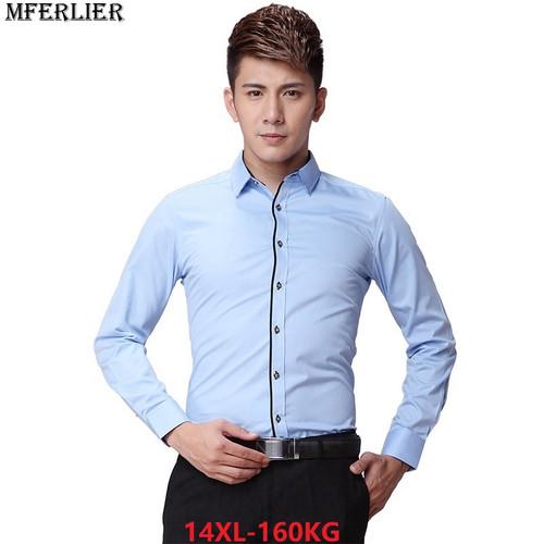 MFERLIER men formal shirt long sleeve large size big 6XL 7XL 8XL office shirt formal Business blue 9XL 10XL 12XL dress shirts 48