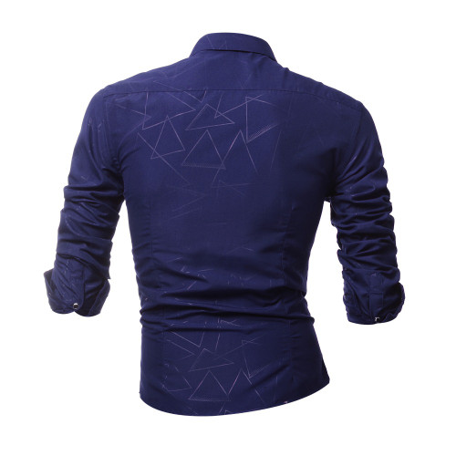 2018 new Fashion Classic Embossed Striped Shirts Brand-clothing Mens Dress Shirts Long sleeve Slim Fit Casual Man Chemise homme