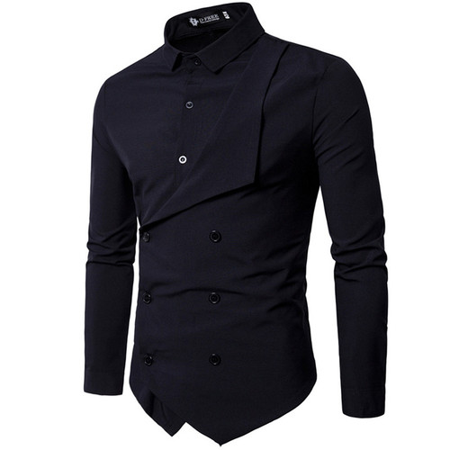 Men Shirt 2018 Spring New Brand Men's Slim Fit Dress Shirt Male Long Sleeves Fake two Casual Shirt Camisa Masculina Size M-XXL