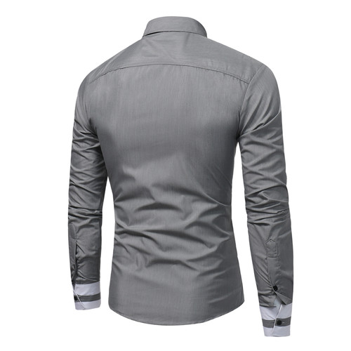 2018 New Fashion Men's Casual Shirt Slim Casual Solid Color Long Sleeve Men's Shirt Slim Shirt Men's Camisa Masculina Size XXXL