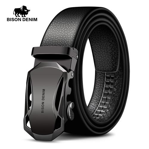 BISON DENIM Men's Belt Cow Leather Belts Brand Fahsion Automatic Buckle Black Genuine Leather Belts for Men 3.4cm Width N71314