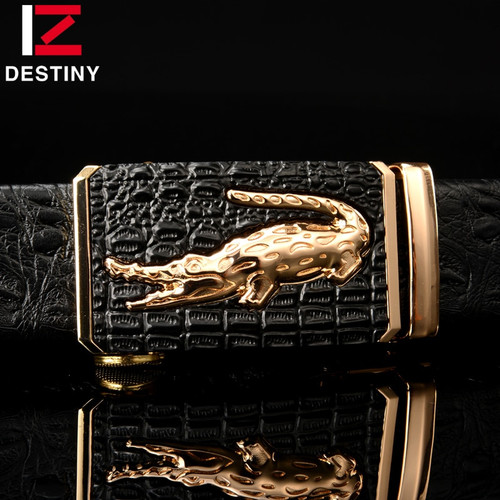 DESTINY Designer Belts Men High Quality Male Genuine Leather Strap Luxury Famous Brand Logo Crocodile Silver Gold Ceinture Homme