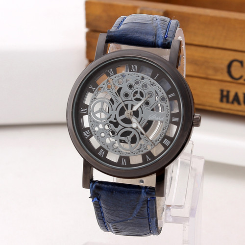 Fashion Skeleton Watch Men Engraving Hollow Reloj Hombre Dress Quartz Wristwatch Leather Band Women Clock Relojes Mujer