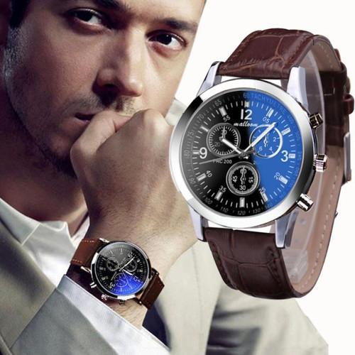 HOT SALE 2018 Top Brand Luxury Fashion Faux Leather Watches Mens Blue Ray Glass Quartz Analog Watch Wristwatch Clock Dropship