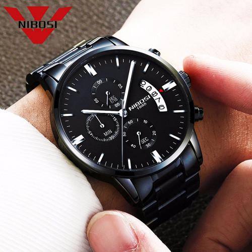 NIBOSI Watch Black Men Watches 2018 Luxury Brand Sport Chronograph Clock Men Watches Stainless Steel Mens Watch Military Army