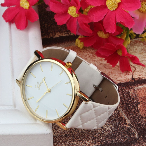 New Unisex Casual Geneva Checkers Faux Leather Quartz Analog naviforce Wrist women watches Classics color Ladies sport Gifts F80