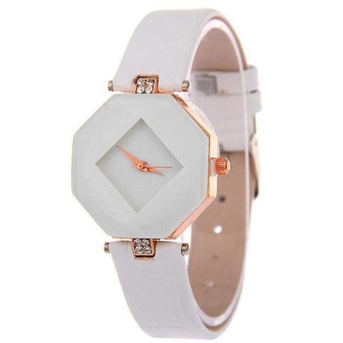Luxury Women Watches Gem Cut Geometry Crystal Leather Quartz Wristwatch Fashion Dress Watch Ladies Gifts Clock Relogio Feminino
