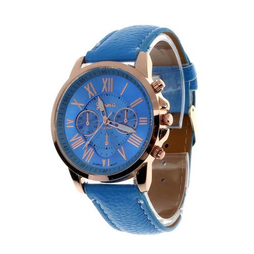 2018 Top Brand Geneva Brand Watches Women Casual Roman Numeral Watch For Women PU Leather Quartz Wrist Watch Relogio Gold Clock