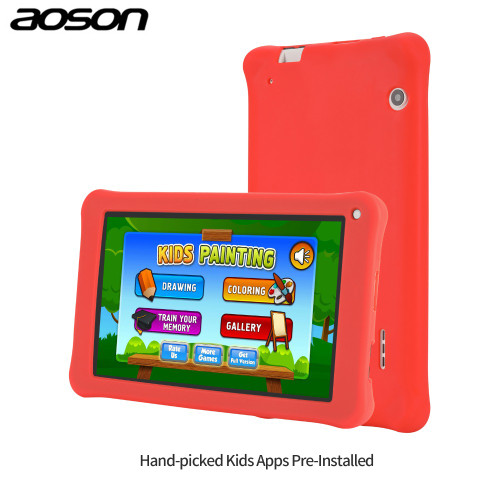 7 inch Kids gift Tablet 16GB/1GB Android 7.0 Aoson M753 Kids Learning Tablet PC with Silicone Case Software Parental Control