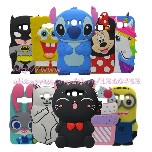 3D Cute Soft Silicone Mobile Phone Bags Case Cover For Samsung Galaxy A5 E5 J5 J500 A500 E500 Phone Case