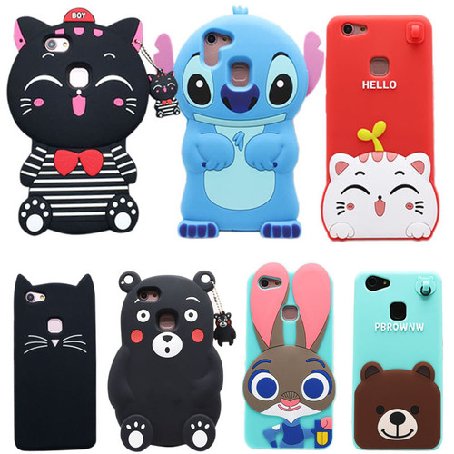 18 Types For Vivo V7 Plus Case Lovely Cute 3D Cartoon Soft Silicon Cover For Vivo V7 Plus 5.99 Inch Mobile Phone Cases