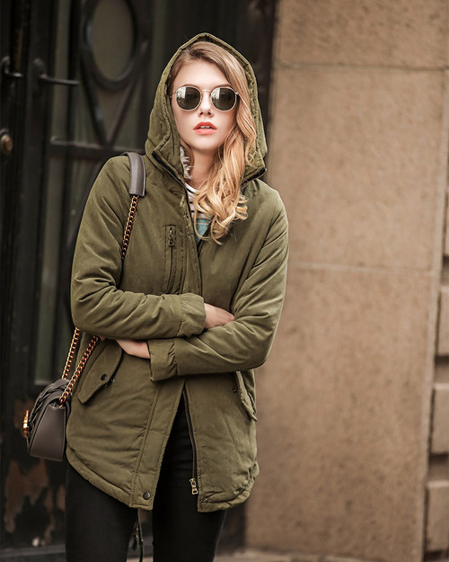 Fitaylor Winter Jacket Women 2018 Hooded Slim Thick Long Cotton Padded Warm  Coat Fashion Army Green High Quality Ladies Parka